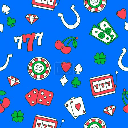 Seamless vector pattern of colored icons on the casino