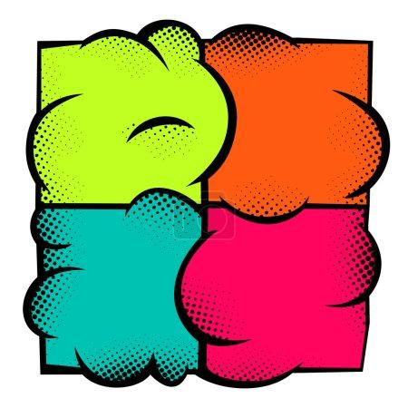 Illustration pour Pop Art élément pour le design. Illustration vectorielle. Quatre carrés de couleurs différentes sur un fond noir . - image libre de droit