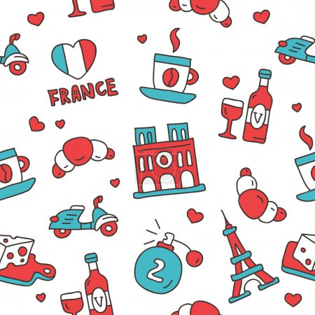 Seamless vector pattern of the French icons