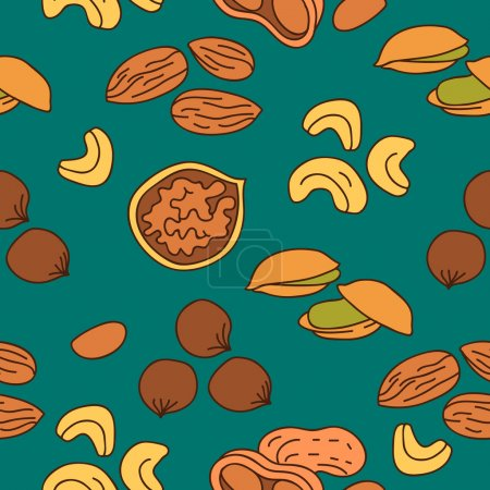 Seamless vector pattern of different nuts