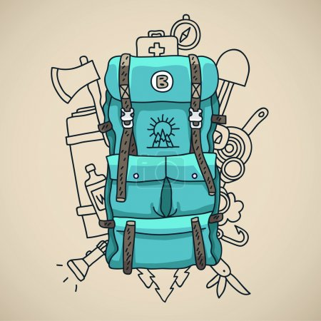 Illustration for Blue tourist backpack on a gray background surrounded by tourist icons. Vector illustration drawn by hand. - Royalty Free Image