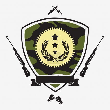 Shield camouflage color with ribbon surrounded by guns, knives,