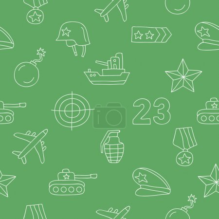 Seamless vector pattern of icon of Fatherland Defender's Day