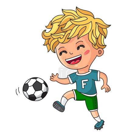 Illustration pour Petit garçon jouant au football. Illustration vectorielle sur fond blanc . - image libre de droit