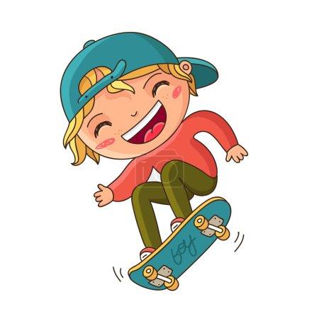 Illustration pour Garçon avec une casquette bleue faisant un tour sur un skateboard. Illustration vectorielle sur fond blanc - image libre de droit
