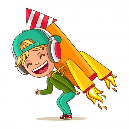 Illustration pour Petit garçon joyeux avec une fusée sur le dos. Démarrage. Illustration vectorielle sur fond blanc . - image libre de droit