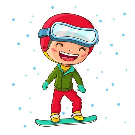 Illustration pour Petit garçon joyeux snowboard en hiver. Illustration vectorielle sur fond blanc . - image libre de droit
