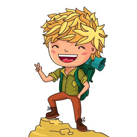 Illustration pour Garçon le voyageur avec un sac à dos. Illustration vectorielle sur fond blanc . - image libre de droit