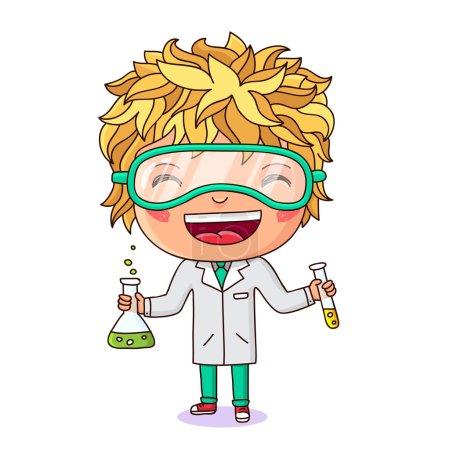 Illustration pour Petite chimiste. Garçon habillé en chimiste avec éprouvettes à la main. Illustration vectorielle sur fond blanc . - image libre de droit