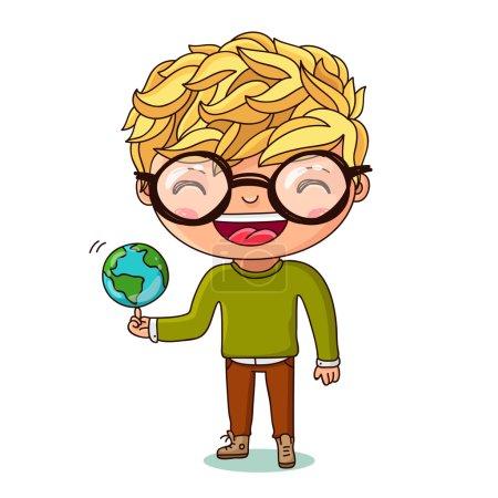 Illustration pour Enfant avec un petit globe. Jour de la Terre. Illustration vectorielle sur fond blanc . - image libre de droit