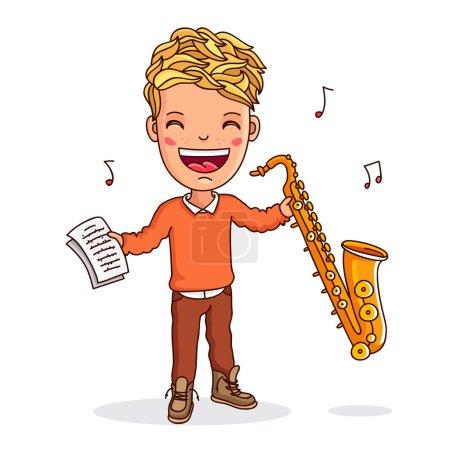 Illustration pour Petit saxophoniste. Garçon jouant du saxophone. Illustration vectorielle sur fond blanc . - image libre de droit