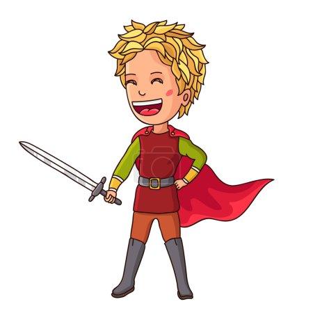 Illustration pour Petit Chevalier. Garçon en costume de chevalier avec épée à la main. Illustration vectorielle sur fond blanc - image libre de droit