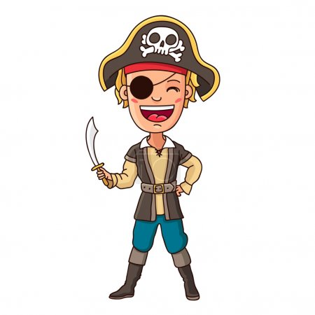 Boy in pirate costume with sword in hand