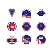 US Independence Day logotypes Set of logos The 4th og July American flag colors Stock vector