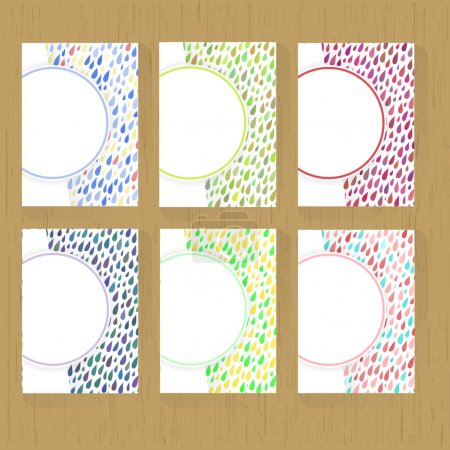 Set of greeting cards with Rainy Patterns