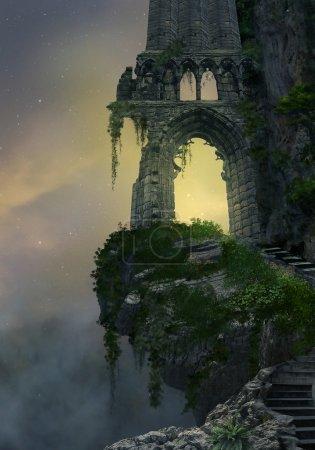 Fantasy gate ruin on a mountain