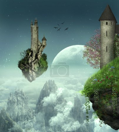 Floating castles. Elements of the image furnished by NASA