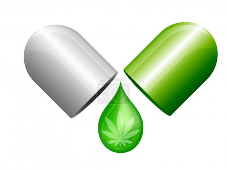 Illustration for Opened marijuana capsule with drop of portion - Royalty Free Image