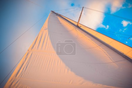 white sail at sunset on a background of blue sky