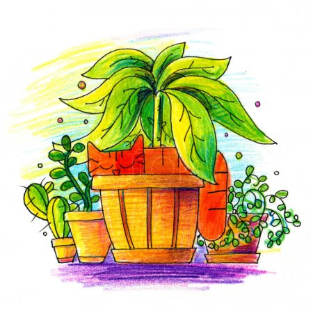 Photo pour Illustration de Chat Rouge en pot de fleurs. Dessinez des gribouillis. Crayon couleur art - image libre de droit