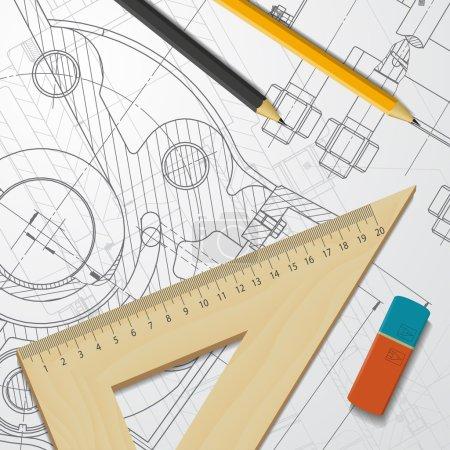 Engineer blueprint of mechanism