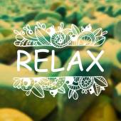 Vector hand drawn Relax white zentangle on blurred stones background Nature design Concept for travel agencies yoga studios