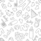 Vector doodle seamless pattern with baby items Eps 10