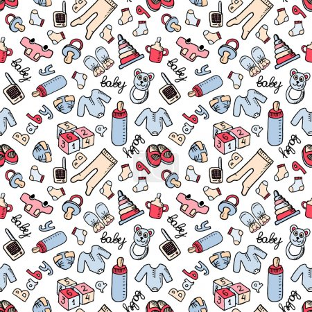 Illustration pour Modèle vectoriel doodle sans couture avec des articles pour bébés. Eps 10 - image libre de droit