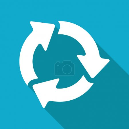 Illustration for Vector flat three arrows icon isolated on blue background - Royalty Free Image