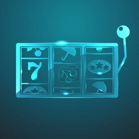 Vector glass slot icon against blue background...