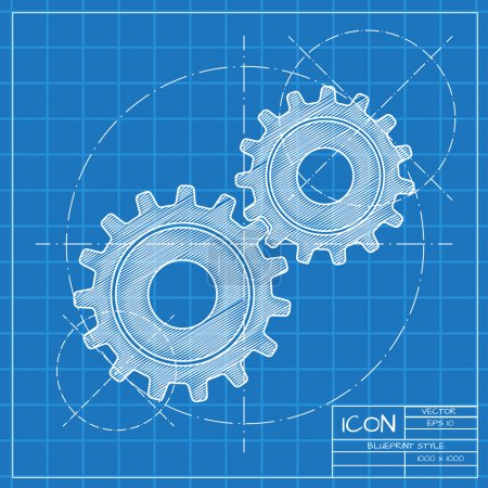 Illustration for Vector blueprint two cogwheels icon on engineer or architect background. - Royalty Free Image
