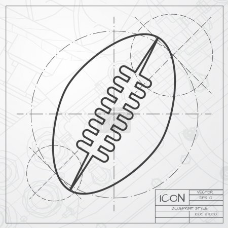 Football icon on engineer blueprint background