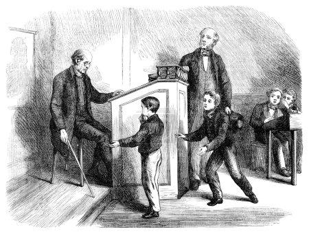 Élève de bastonnade enseignant à l'école