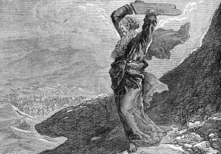 Photo pour Illustration gravée de Moïse brisant les deux tablettes de pierre d'un livre victorien datant de 1883 qui n'est plus protégé par le droit d'auteur - image libre de droit