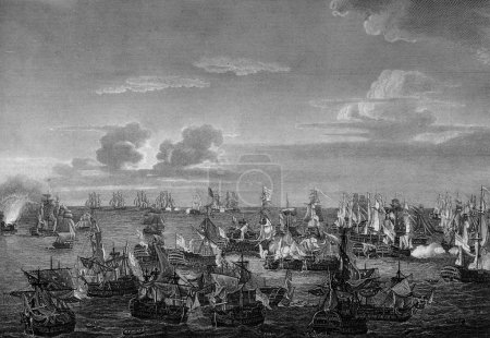 Photo for An engraved  illustration image of  the Battle of Trafalgar, at which Admiral Lord Horatio Nelson defeated Napoleon Bonaparte's fleet in 1805, from a vintage Victorian book dated 1884 that is no longer in copyright - Royalty Free Image