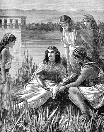 Photo pour Une illustration gravée de l'enfant Moïse trouvée parmi les joncs d'un livre victorien daté de 1883 qui n'est plus dans le droit d'auteur - image libre de droit