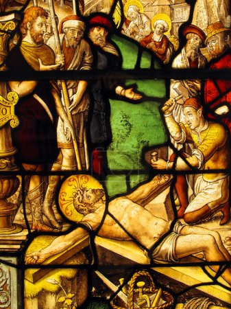 The Crucifixion, Medieval Stained Glass Window