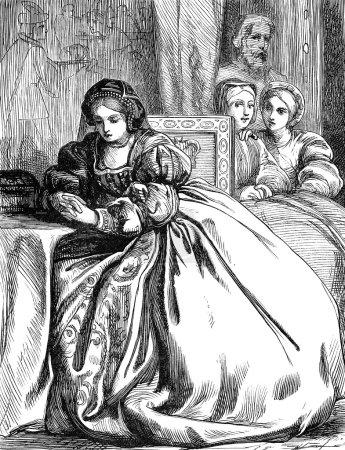Photo pour Illustration vintage gravée d'Anne Boleyn, reine d'Angleterre, Royaume-Uni, dans la Tour de Londres, d'un livre victorien daté de 1868 qui n'est plus protégé par le droit d'auteur - image libre de droit