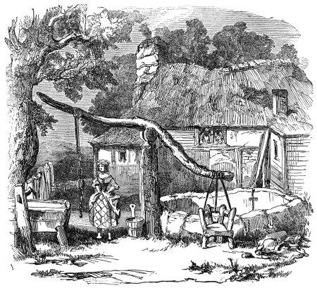 Photo pour Illustration gravée d'une chaise de câlin également connue sous le nom de chaise de canard dans un village bien tiré d'un livre victorien daté de 1883 qui n'est plus protégé par le droit d'auteur - image libre de droit