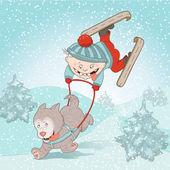 happy boy with dog husky driving on christmas winter mountain