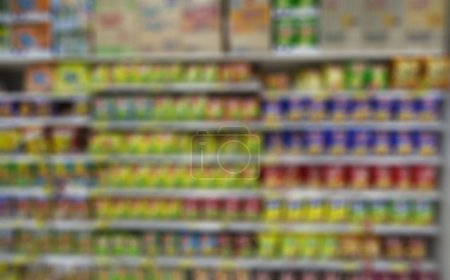 Blurred supermarket background and unidentified people who are