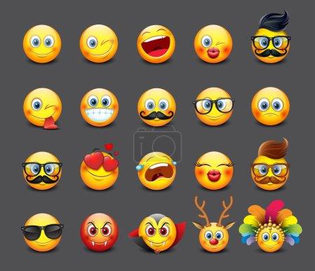 Illustration pour Set d'émoticônes mignon, emoji - smiley - illustration vectorielle - image libre de droit