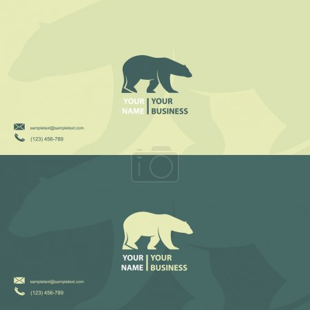 Business card template with polar bear