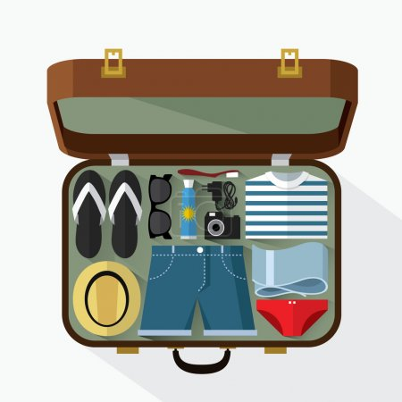 Illustration for Vector illustration of Packed suitcase for summer holidays - Royalty Free Image