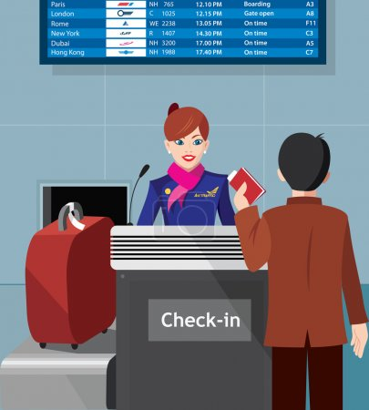 Illustration for Stewardess with the passenger at the check in - flat design - vector illustration - Royalty Free Image