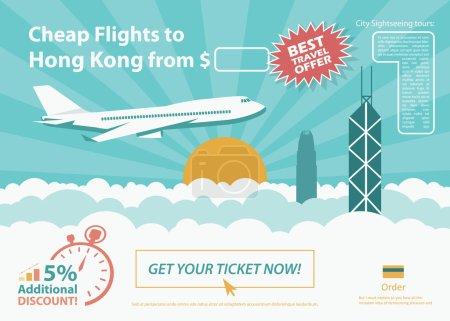 Flat travel banner - Hong Kong