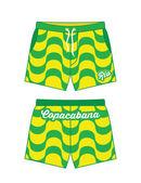 Beach shorts with Copacabana pattern