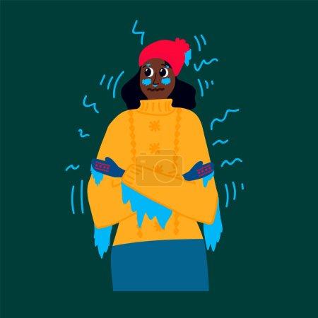 Illustration pour La femme gèle les engelures. Illustrations de mains, pieds, oreilles, nez gelés. Pour l'affiche, congélation, réchauffement des pieds, boisson chaude. Frissonnant du froid, du gel, du froid. Illustration vectorielle - image libre de droit