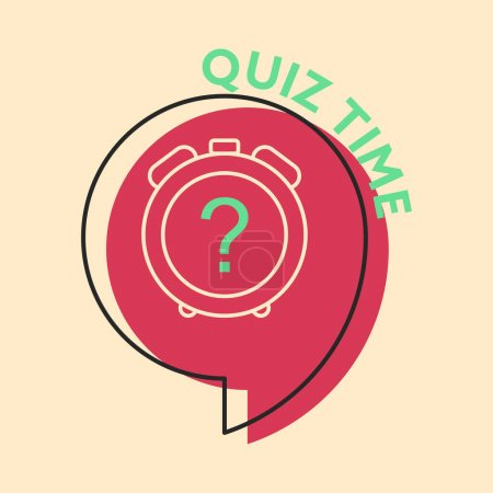 Illustration for Alarm clock with a question mark inside a chat bubble with text QUIZ TIME. Concept of quiz contest. Flat style illustration. Isolated. - Royalty Free Image
