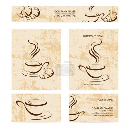 Set of business cards with cup of coffee ans croissant